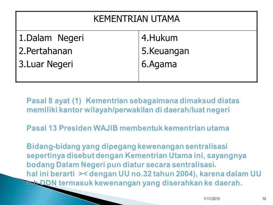 KEMENTRIAN UTAMA 1.Dalam Negeri 2.Pertahanan 3.Luar Negeri 4.Hukum 5.Keuangan 6.Agama 1/11/201516