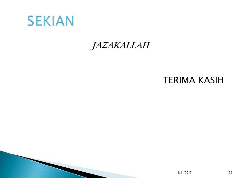 JAZAKALLAH TERIMA KASIH 1/11/201528