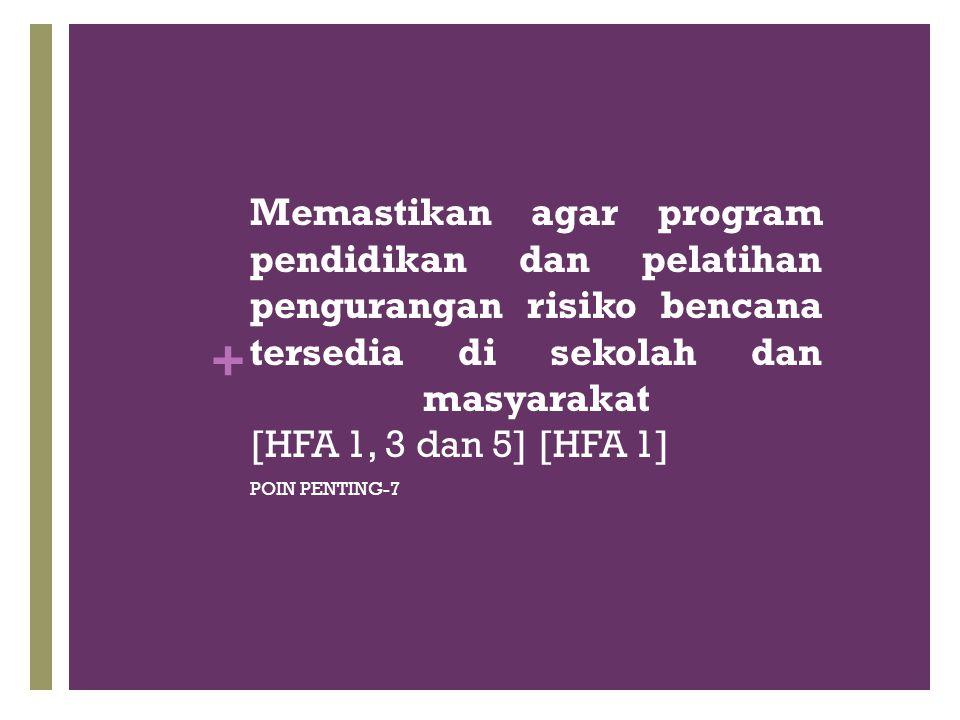 + Memastikan agar program pendidikan dan pelatihan pengurangan risiko bencana tersedia di sekolah dan masyarakat [HFA 1, 3 dan 5] [HFA 1] POIN PENTING