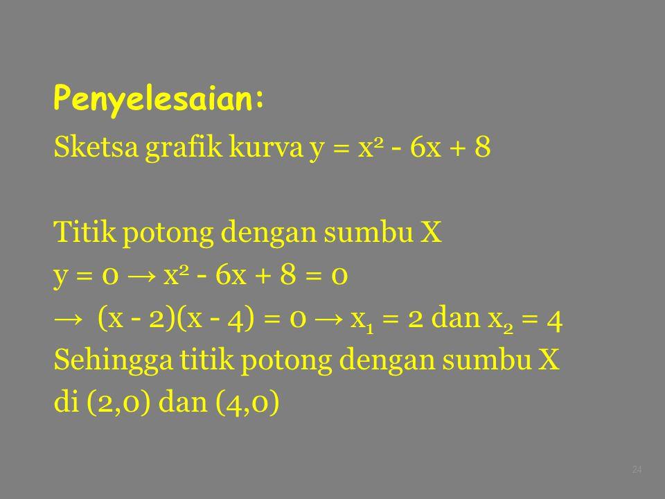 24 Penyelesaian: Sketsa grafik kurva y = x 2 - 6x + 8 Titik potong dengan sumbu X y = 0 → x 2 - 6x + 8 = 0 → (x - 2)(x - 4) = 0 → x 1 = 2 dan x 2 = 4