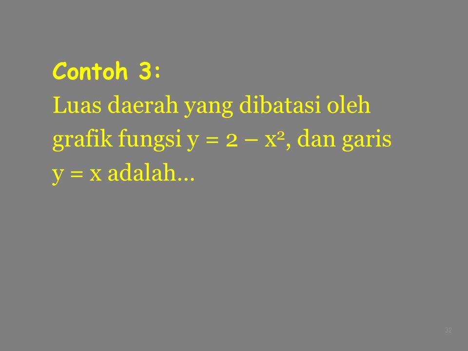 32 Contoh 3: Luas daerah yang dibatasi oleh grafik fungsi y = 2 – x 2, dan garis y = x adalah…