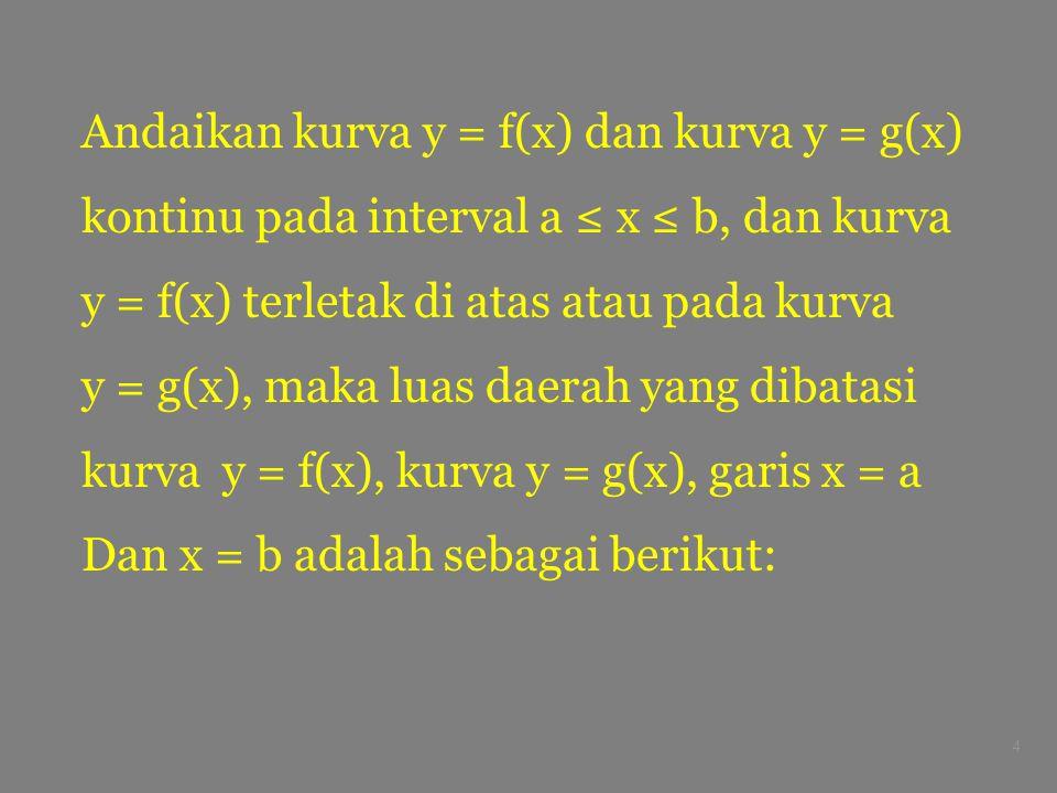 4 Andaikan kurva y = f(x) dan kurva y = g(x) kontinu pada interval a ≤ x ≤ b, dan kurva y = f(x) terletak di atas atau pada kurva y = g(x), maka luas