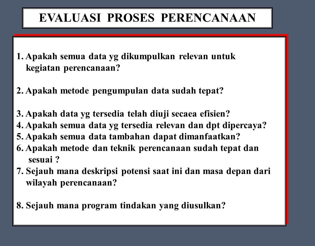 EVALUASI PROSES PERENCANAAN 1.Apakah semua data yg dikumpulkan relevan untuk kegiatan perencanaan.