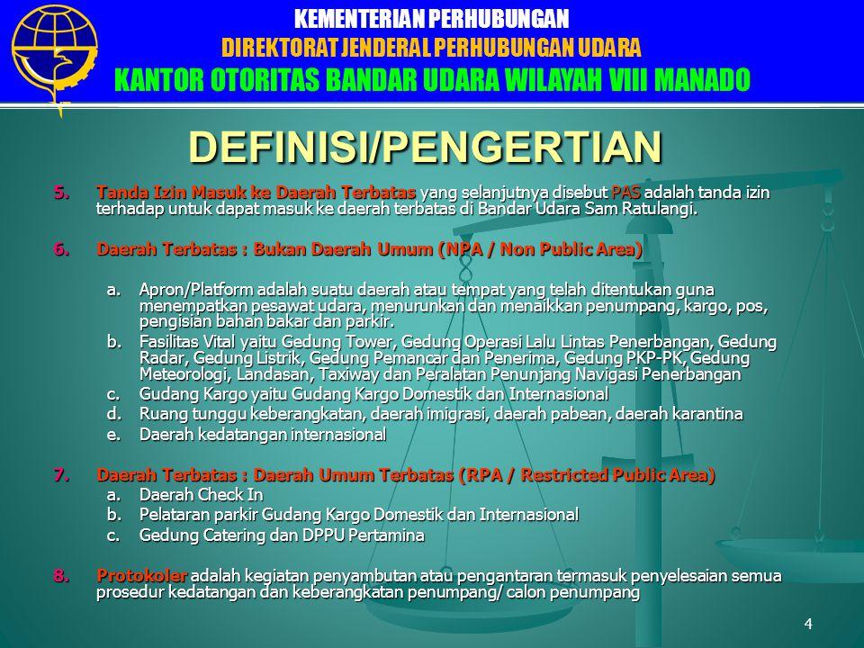 DIREKTORAT JENDERAL PERHUBUNGAN UDARA DIREKTORAT FASILITAS ELEKTRONIKA DAN LISTRIK PENERBANGAN SUB DIREKTORAT FASILITAS LISTRIK BANDARA KEMENTERIAN PERHUBUNGAN DIREKTORAT JENDERAL PERHUBUNGAN UDARA KANTOR OTORITAS BANDAR UDARA WILAYAH VIII MANADO 5 PEMBAGIAN DAERAH DI BANDAR UDARA 1.Daerah Terbatas (security restricted area), yaitu daerah tertentu di dalam maupun di luar Bandar Udara yang dipergunakan untuk kepentingan pengamanan penerbangan, penyelenggaraan Bandar Udara dan kepentingan lainnya, dan untuk masuk daerah tersebut dilakukan pemeriksaan keamanan sesuai ketentuan yang berlaku.