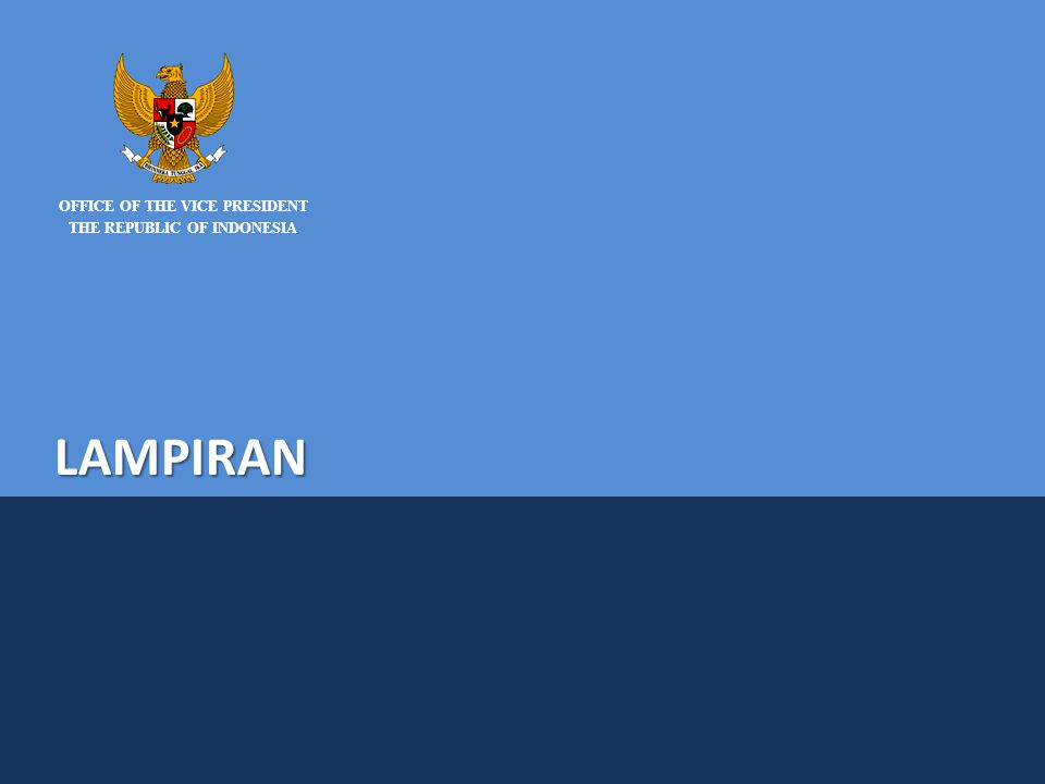 NATIONAL TEAM FOR THE ACCELERATION OF POVERTY REDUCTION OFFICE OF THE VICE PRESIDENT THE REPUBLIC OF INDONESIA LAMPIRAN