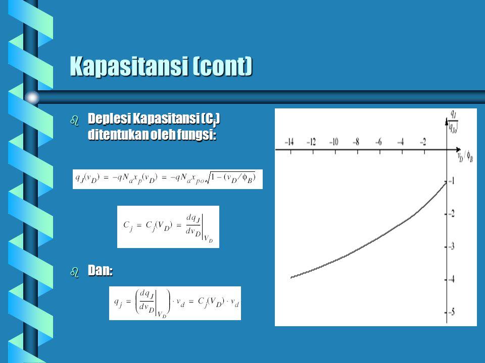 Kapasitansi (cont) b Deplesi Kapasitansi (C j ) ditentukan oleh fungsi: b Dan: