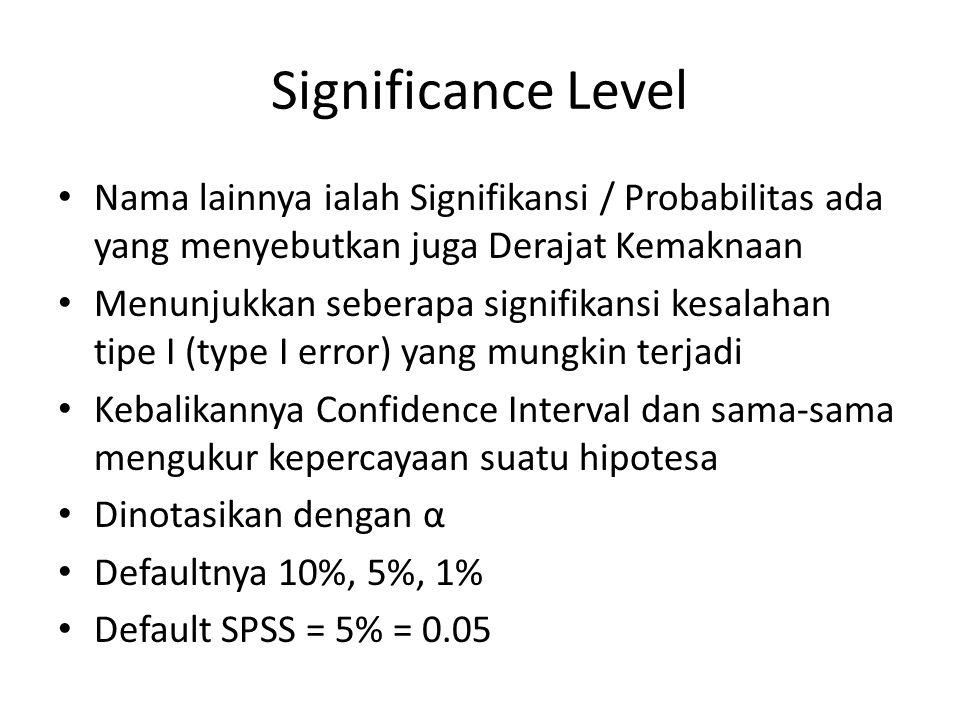 Significance Level Nama lainnya ialah Signifikansi / Probabilitas ada yang menyebutkan juga Derajat Kemaknaan Menunjukkan seberapa signifikansi kesala