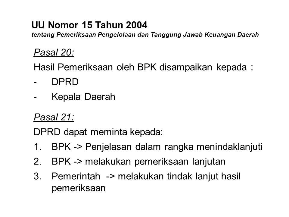 Pasal 20: Hasil Pemeriksaan oleh BPK disampaikan kepada : -DPRD -Kepala Daerah Pasal 21: DPRD dapat meminta kepada: 1.BPK -> Penjelasan dalam rangka m