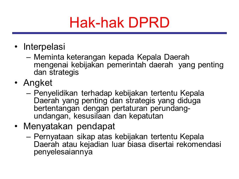 Hak-hak DPRD Interpelasi –Meminta keterangan kepada Kepala Daerah mengenai kebijakan pemerintah daerah yang penting dan strategis Angket –Penyelidikan