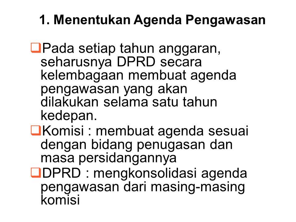 1. Menentukan Agenda Pengawasan  Pada setiap tahun anggaran, seharusnya DPRD secara kelembagaan membuat agenda pengawasan yang akan dilakukan selama