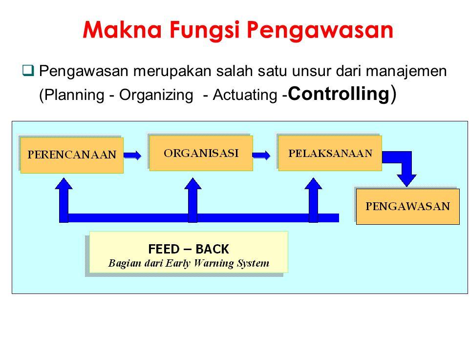  Pengawasan merupakan salah satu unsur dari manajemen (Planning - Organizing - Actuating - Controlling ) Makna Fungsi Pengawasan