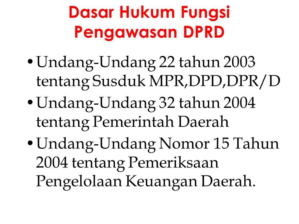 Undang-Undang 22 tahun 2003 tentang Susduk MPR,DPD,DPR/D Undang-Undang 32 tahun 2004 tentang Pemerintah Daerah Undang-Undang Nomor 15 Tahun 2004 tenta