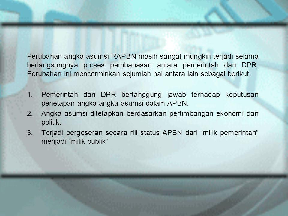 Perubahan angka asumsi RAPBN masih sangat mungkin terjadi selama berlangsungnya proses pembahasan antara pemerintah dan DPR. Perubahan ini mencerminka