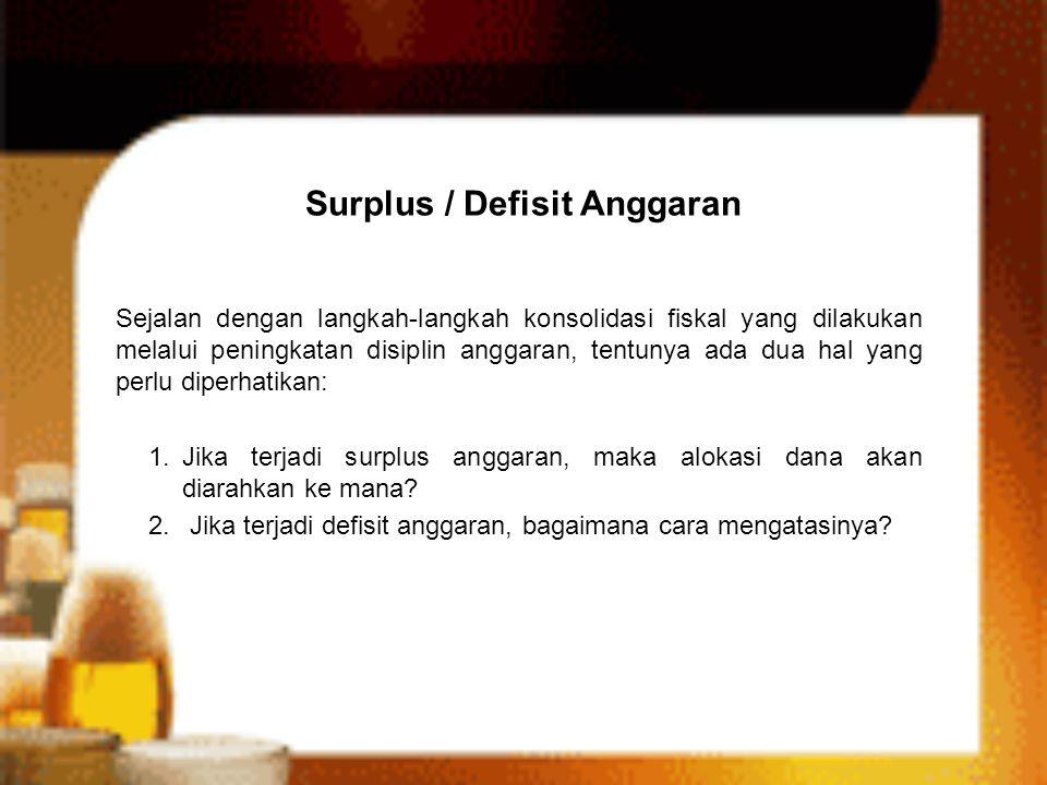 Surplus / Defisit Anggaran Sejalan dengan langkah-langkah konsolidasi fiskal yang dilakukan melalui peningkatan disiplin anggaran, tentunya ada dua ha