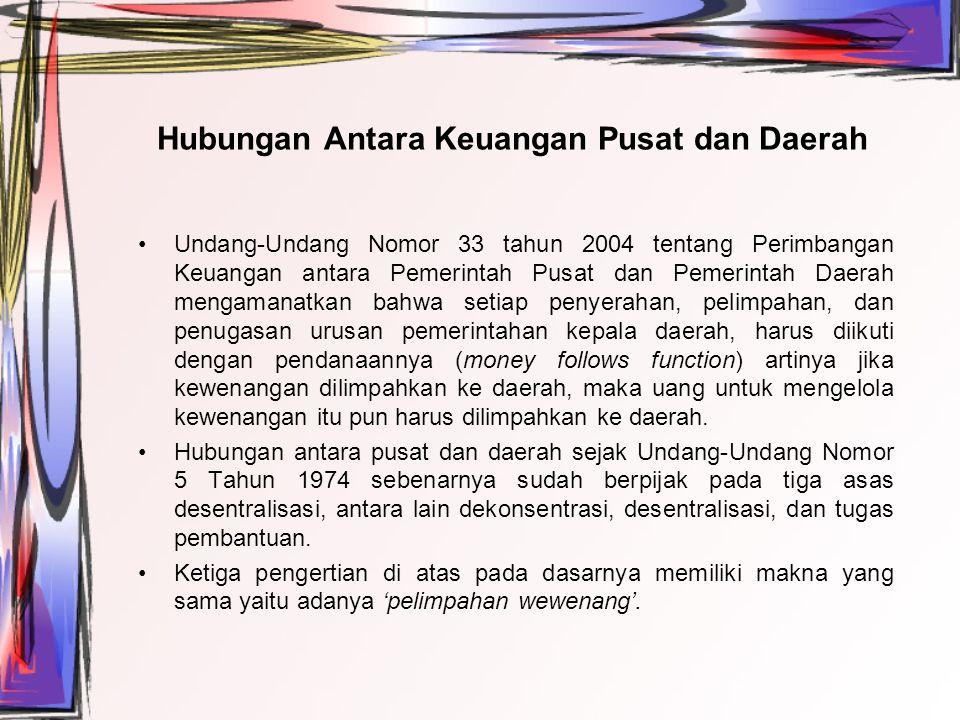 Hubungan Antara Keuangan Pusat dan Daerah Undang-Undang Nomor 33 tahun 2004 tentang Perimbangan Keuangan antara Pemerintah Pusat dan Pemerintah Daerah