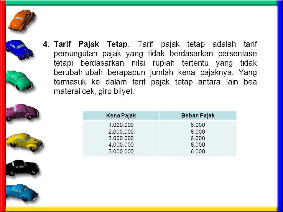 4.Tarif Pajak Tetap. Tarif pajak tetap adalah tarif pemungutan pajak yang tidak berdasarkan persentase tetapi berdasarkan nilai rupiah tertentu yang t