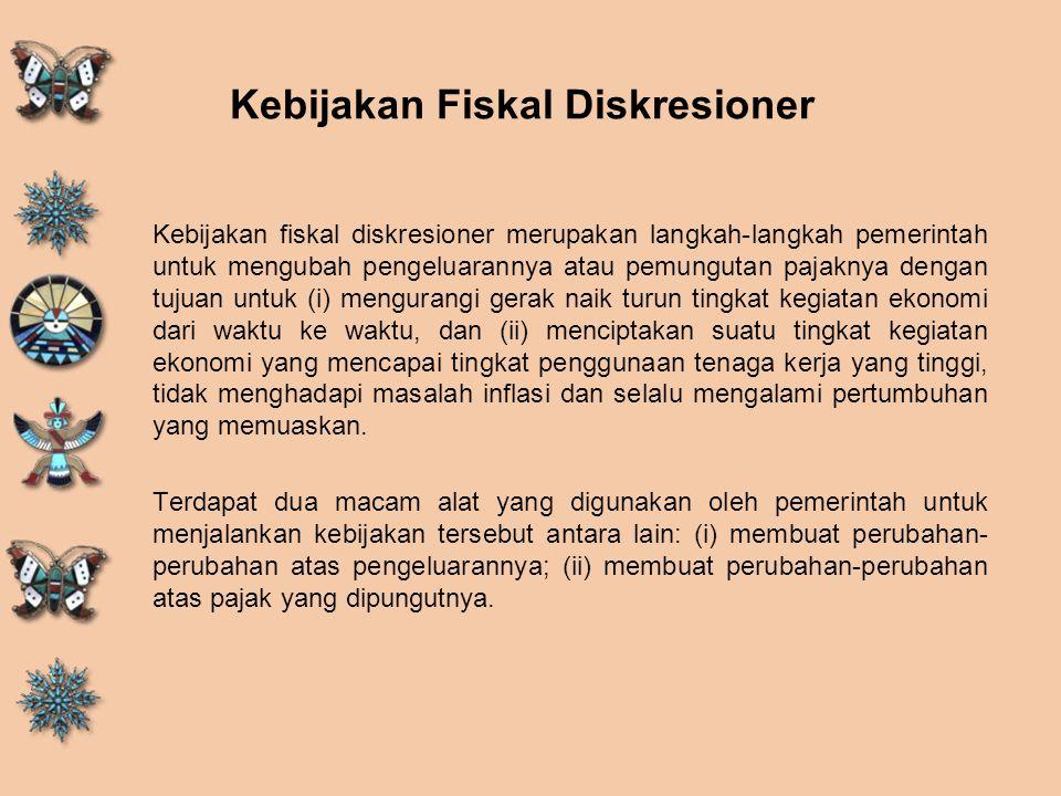 Kebijakan Fiskal Diskresioner Kebijakan fiskal diskresioner merupakan langkah-langkah pemerintah untuk mengubah pengeluarannya atau pemungutan pajakny