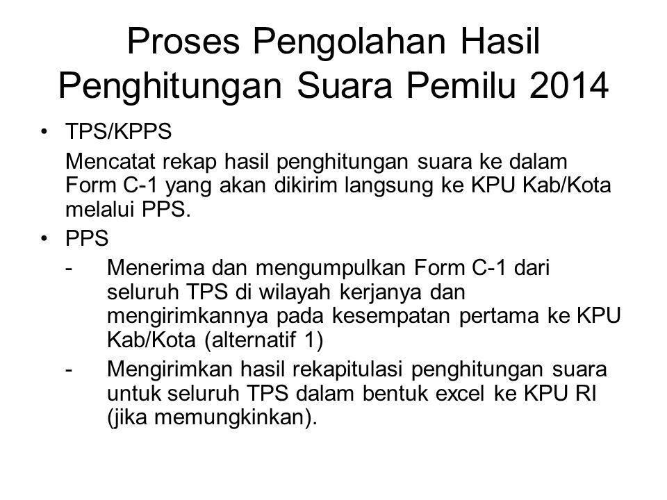 lanjutan PPK -Menerima dan mengumpulkan Form C- 1 dari seluruh PPS di wilayah kerjanya dan mengirimkannya pada kesempatan pertama ke KPU Kab/Kota (alternatif 2) -Mengirimkan hasil rekapitulasi penghitungan suara untuk seluruh PPS dalam bentuk excel ke KPU RI.