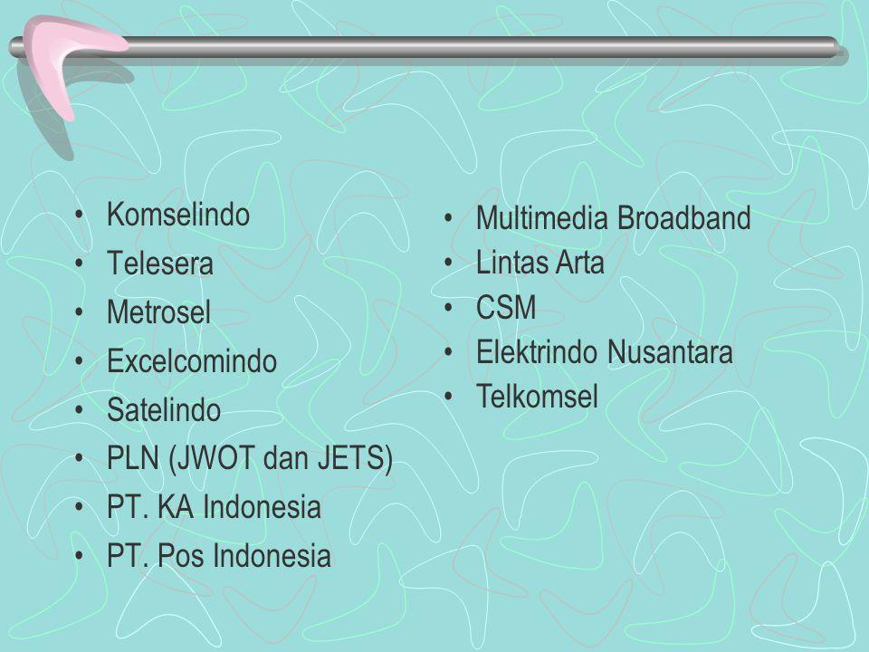 Komselindo Telesera Metrosel Excelcomindo Satelindo PLN (JWOT dan JETS) PT.