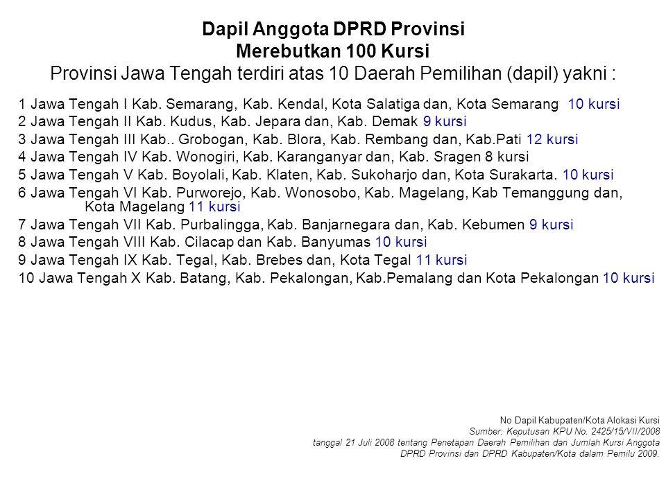 Dapil Anggota DPRD Provinsi Merebutkan 100 Kursi Provinsi Jawa Tengah terdiri atas 10 Daerah Pemilihan (dapil) yakni : 1 Jawa Tengah I Kab.