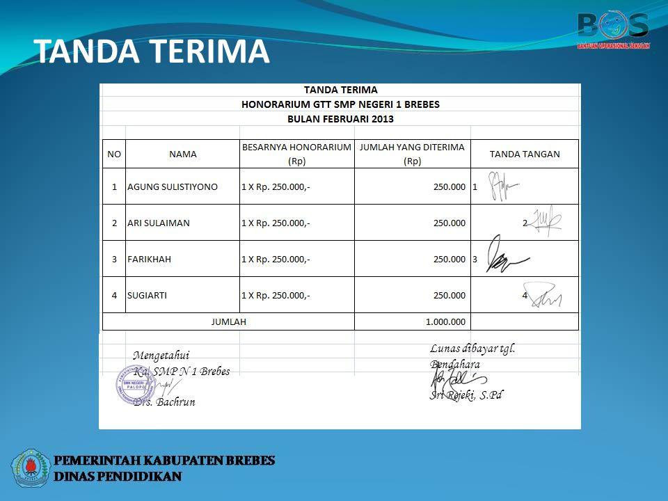 TANDA TERIMA Lunas dibayar tgl. Bendahara Sri Rejeki, S.Pd Mengetahui Ka. SMP N 1 Brebes Drs. Bachrun