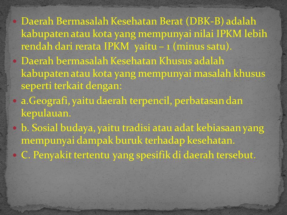 Daerah Bermasalah Kesehatan Berat (DBK-B) adalah kabupaten atau kota yang mempunyai nilai IPKM lebih rendah dari rerata IPKM yaitu – 1 (minus satu).
