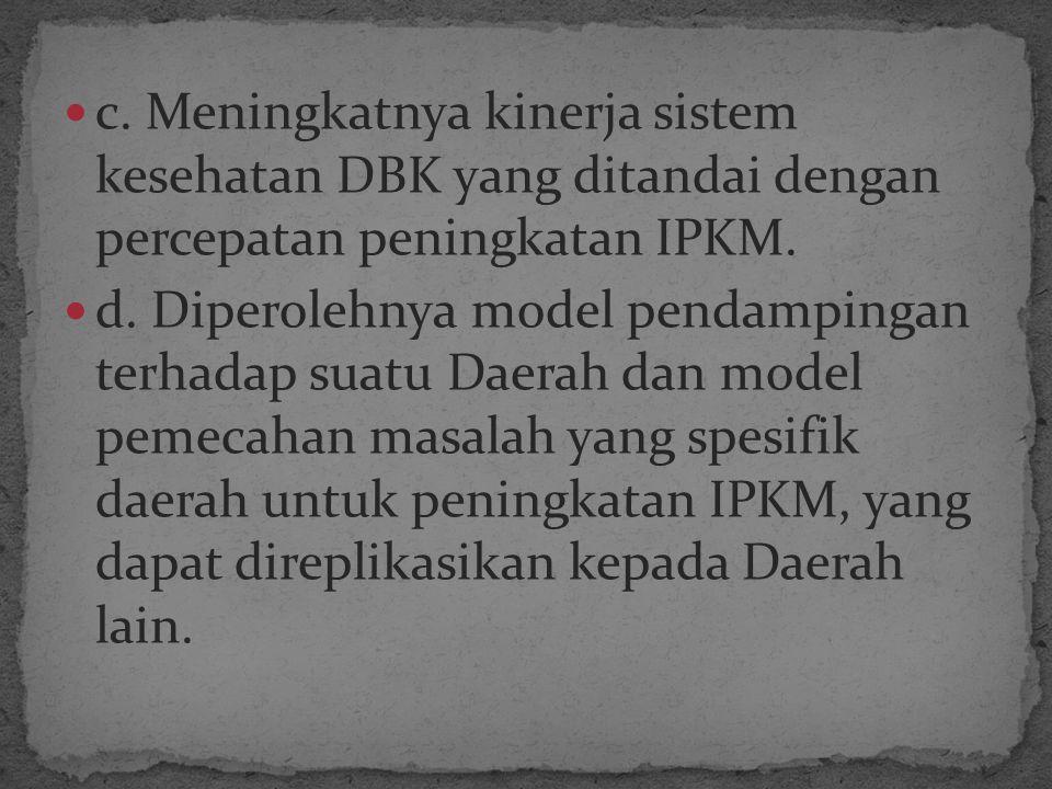 c. Meningkatnya kinerja sistem kesehatan DBK yang ditandai dengan percepatan peningkatan IPKM.