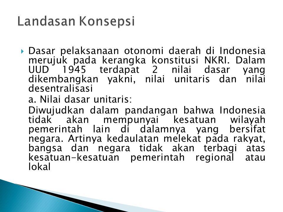  Dasar pelaksanaan otonomi daerah di Indonesia merujuk pada kerangka konstitusi NKRI. Dalam UUD 1945 terdapat 2 nilai dasar yang dikembangkan yakni,