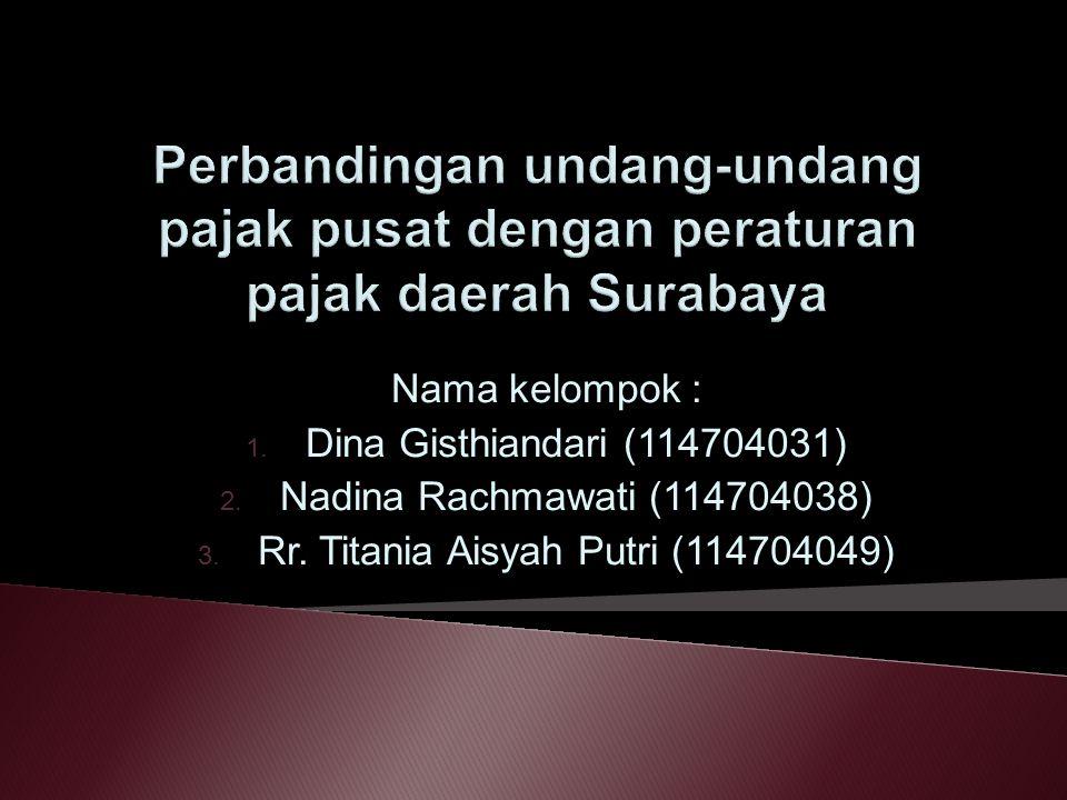 Nama kelompok : 1. Dina Gisthiandari (114704031) 2. Nadina Rachmawati (114704038) 3. Rr. Titania Aisyah Putri (114704049)
