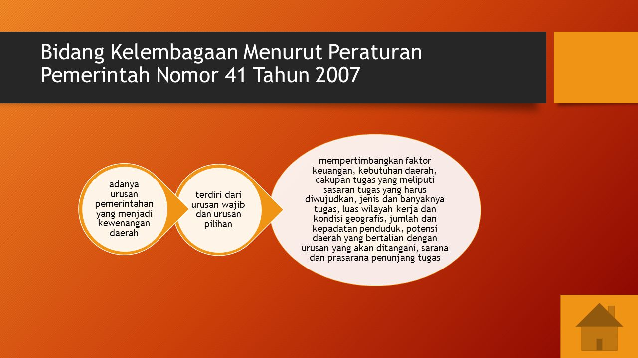 Bidang Kelembagaan Menurut Peraturan Pemerintah Nomor 41 Tahun 2007 mempertimbangkan faktor keuangan, kebutuhan daerah, cakupan tugas yang meliputi sa