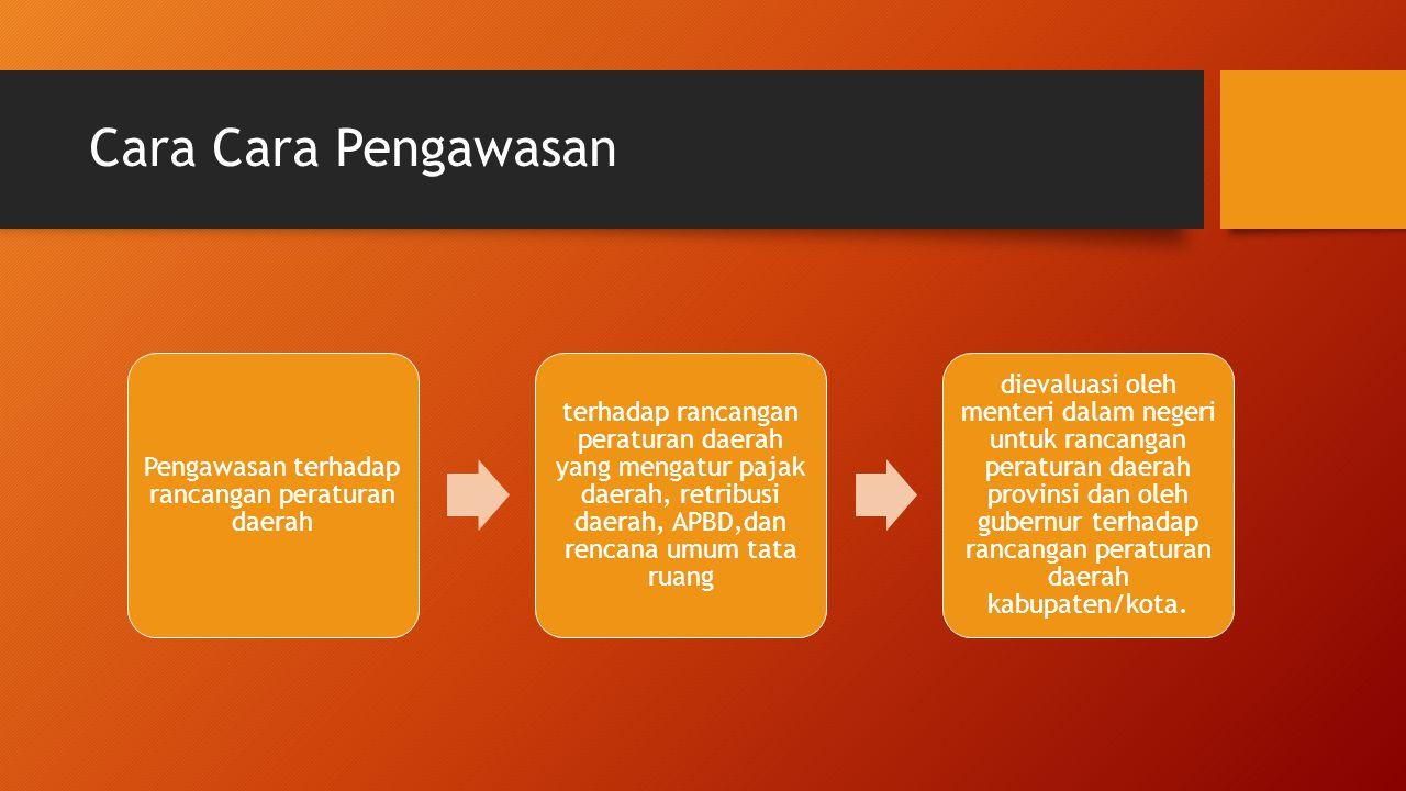 Cara Cara Pengawasan Pengawasan terhadap rancangan peraturan daerah terhadap rancangan peraturan daerah yang mengatur pajak daerah, retribusi daerah,