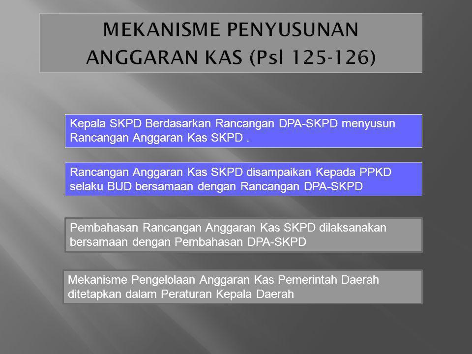 Kepala SKPD Berdasarkan Rancangan DPA-SKPD menyusun Rancangan Anggaran Kas SKPD. Rancangan Anggaran Kas SKPD disampaikan Kepada PPKD selaku BUD bersam