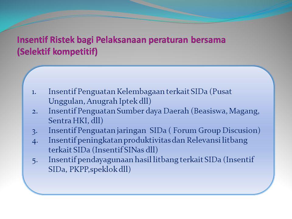 1.Insentif Penguatan Kelembagaan terkait SIDa (Pusat Unggulan, Anugrah Iptek dll) 2.Insentif Penguatan Sumber daya Daerah (Beasiswa, Magang, Sentra HKI, dll) 3.Insentif Penguatan jaringan SIDa ( Forum Group Discusion) 4.Insentif peningkatan produktivitas dan Relevansi litbang terkait SIDa (Insentif SINas dll) 5.Insentif pendayagunaan hasil litbang terkait SIDa (Insentif SIDa, PKPP,speklok dll)