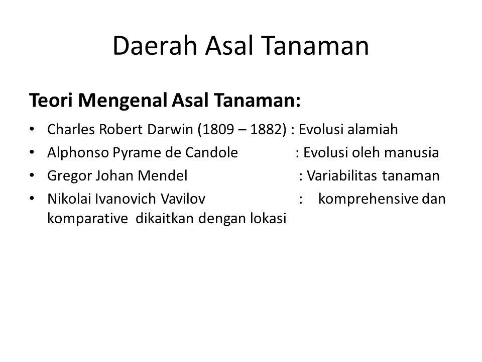 Daerah Asal Tanaman Teori Mengenal Asal Tanaman: Charles Robert Darwin (1809 – 1882) : Evolusi alamiah Alphonso Pyrame de Candole : Evolusi oleh manus