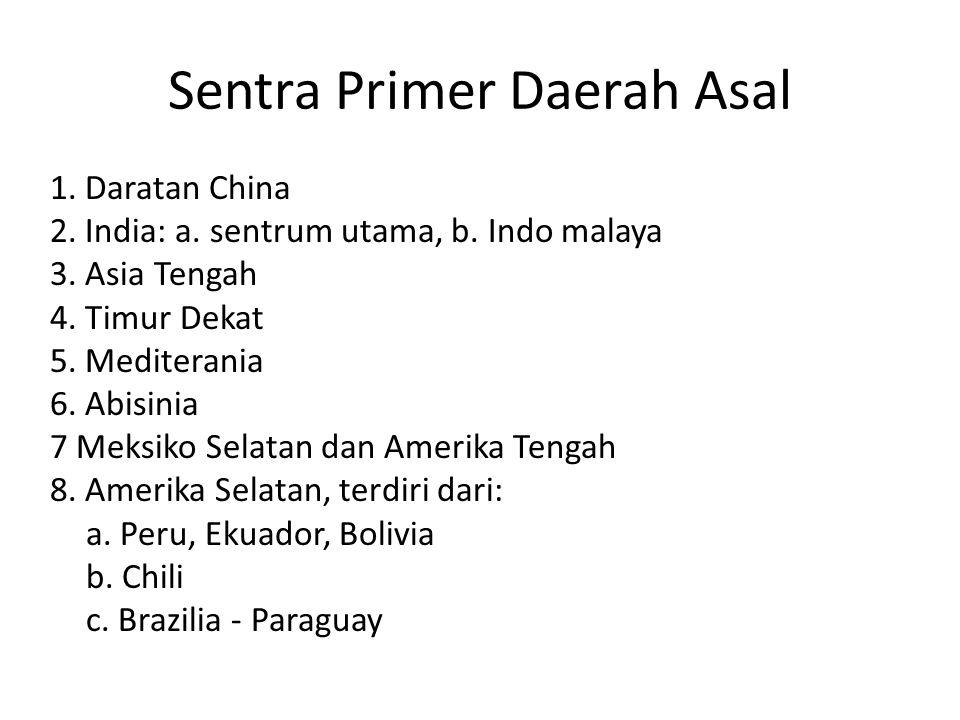 Sentra Primer Daerah Asal 1. Daratan China 2. India: a. sentrum utama, b. Indo malaya 3. Asia Tengah 4. Timur Dekat 5. Mediterania 6. Abisinia 7 Meksi