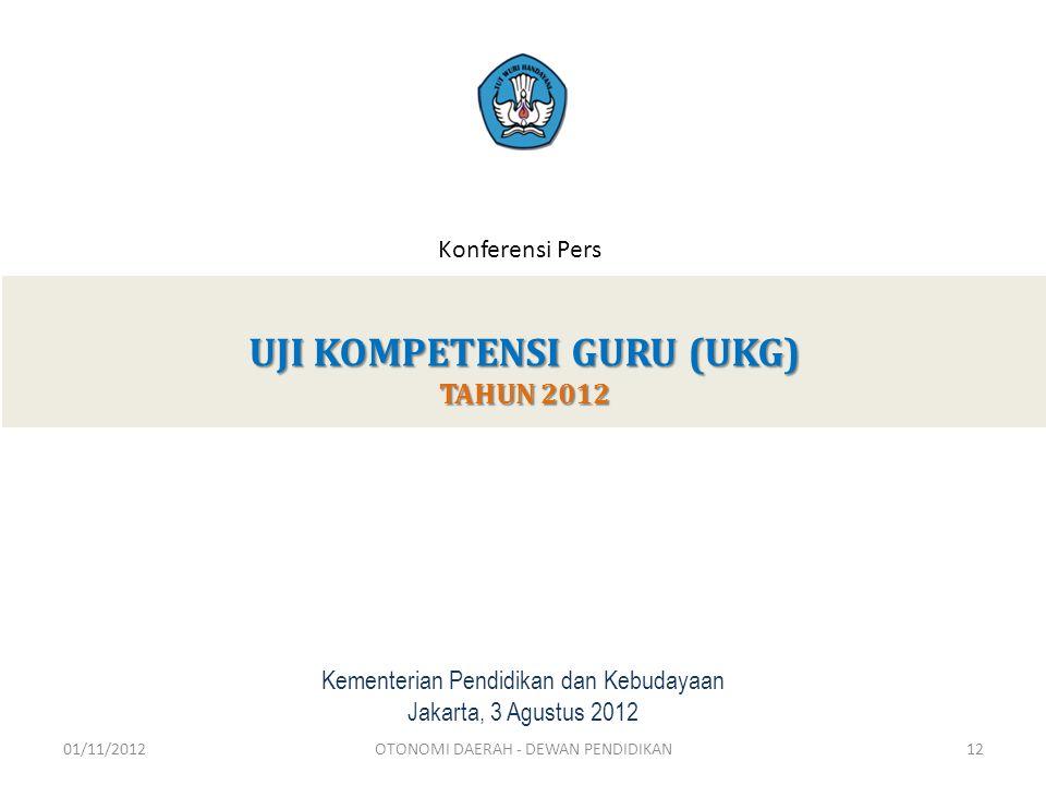 UJI KOMPETENSI GURU (UKG) TAHUN 2012 Kementerian Pendidikan dan Kebudayaan Jakarta, 3 Agustus 2012 Konferensi Pers 01/11/201212OTONOMI DAERAH - DEWAN PENDIDIKAN