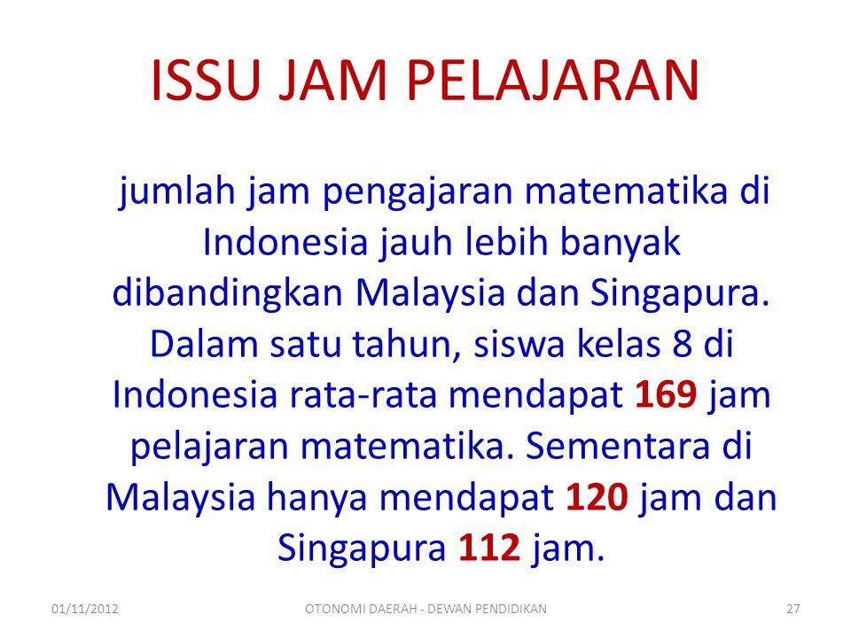 ISSU JAM PELAJARAN jumlah jam pengajaran matematika di Indonesia jauh lebih banyak dibandingkan Malaysia dan Singapura.