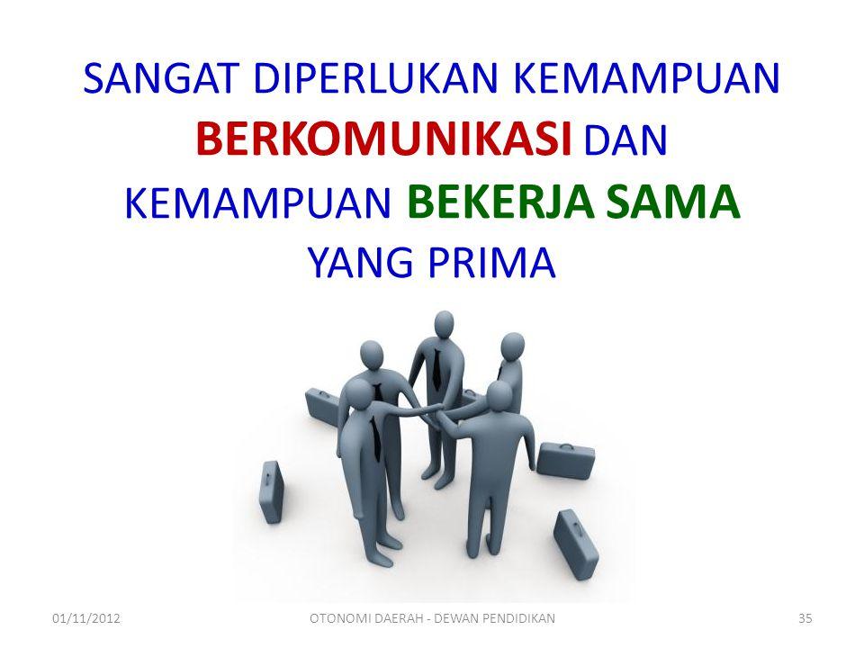 SANGAT DIPERLUKAN KEMAMPUAN BERKOMUNIKASI DAN KEMAMPUAN BEKERJA SAMA YANG PRIMA 01/11/2012OTONOMI DAERAH - DEWAN PENDIDIKAN35