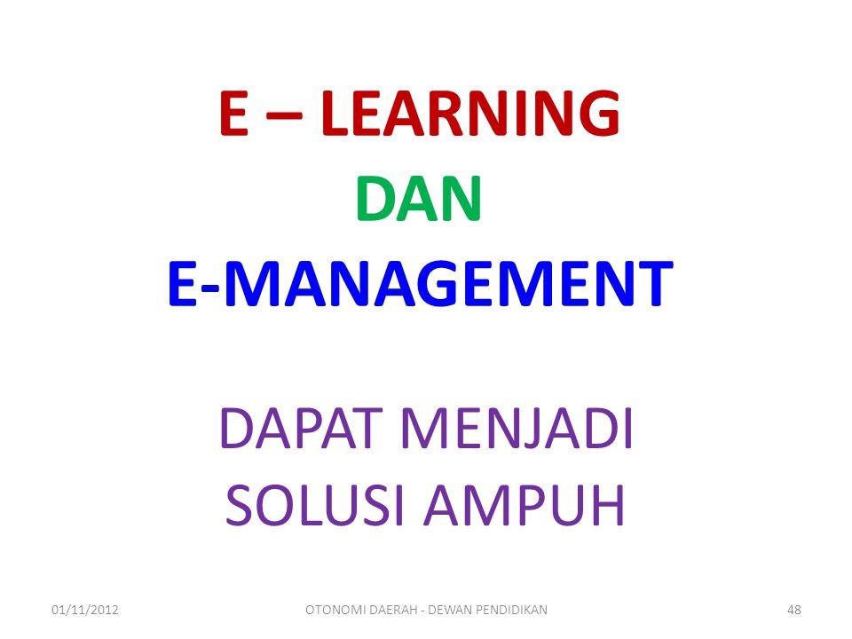 E – LEARNING DAN E-MANAGEMENT DAPAT MENJADI SOLUSI AMPUH 01/11/2012OTONOMI DAERAH - DEWAN PENDIDIKAN48