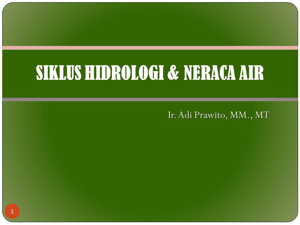 Ir. Adi Prawito, MM., MT 1 SIKLUS HIDROLOGI & NERACA AIR