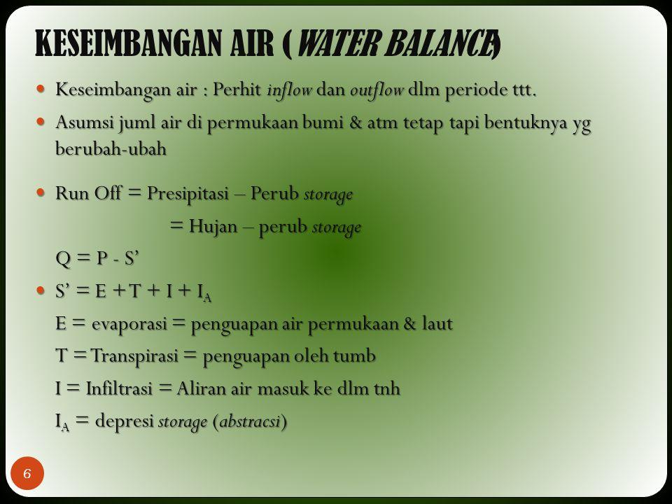 KESEIMBANGAN AIR (WATER BALANCE) 6 Keseimbangan air : Perhit inflow dan outflow dlm periode ttt. Keseimbangan air : Perhit inflow dan outflow dlm peri