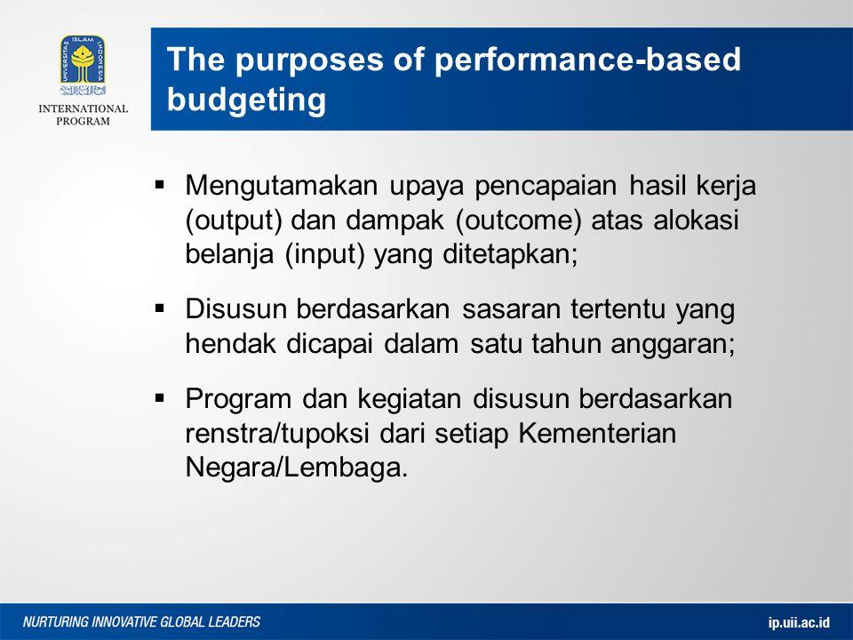  Mengutamakan upaya pencapaian hasil kerja (output) dan dampak (outcome) atas alokasi belanja (input) yang ditetapkan;  Disusun berdasarkan sasaran