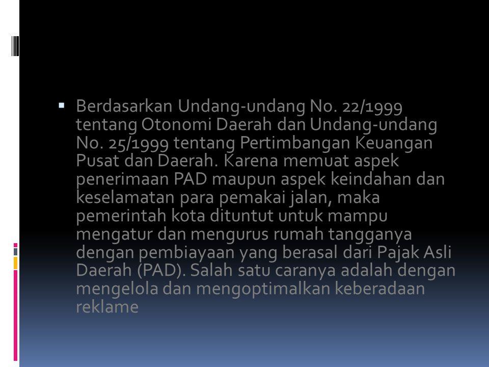  Berdasarkan Undang-undang No. 22/1999 tentang Otonomi Daerah dan Undang-undang No.