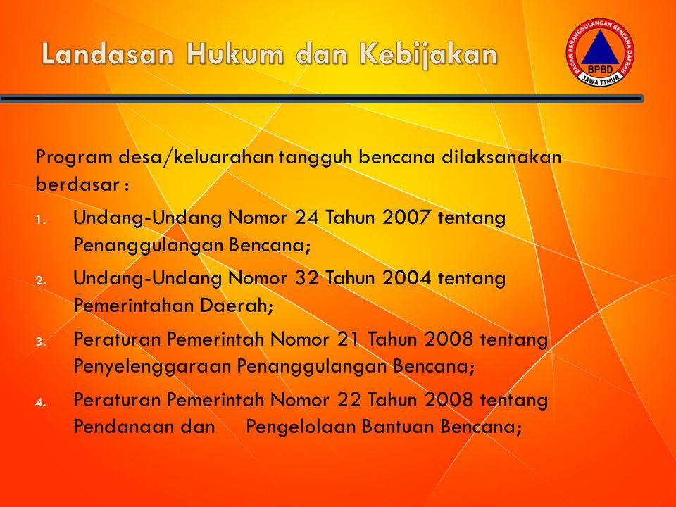 Program desa/keluarahan tangguh bencana dilaksanakan berdasar : 1. Undang-Undang Nomor 24 Tahun 2007 tentang Penanggulangan Bencana; 2. Undang-Undang