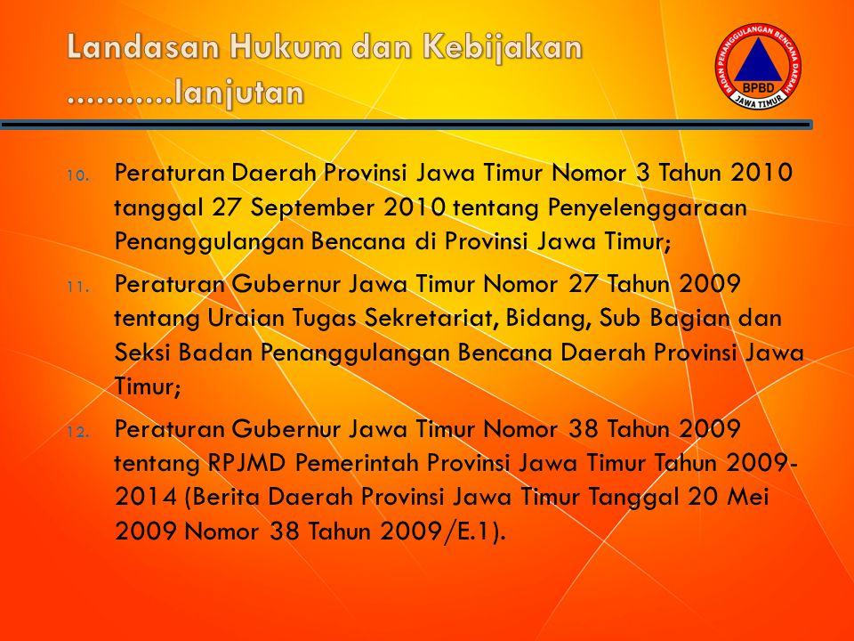 10. Peraturan Daerah Provinsi Jawa Timur Nomor 3 Tahun 2010 tanggal 27 September 2010 tentang Penyelenggaraan Penanggulangan Bencana di Provinsi Jawa