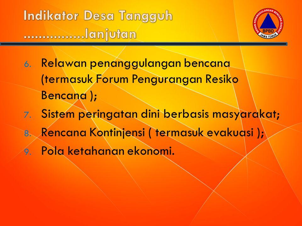 6. Relawan penanggulangan bencana (termasuk Forum Pengurangan Resiko Bencana ); 7. Sistem peringatan dini berbasis masyarakat; 8. Rencana Kontinjensi