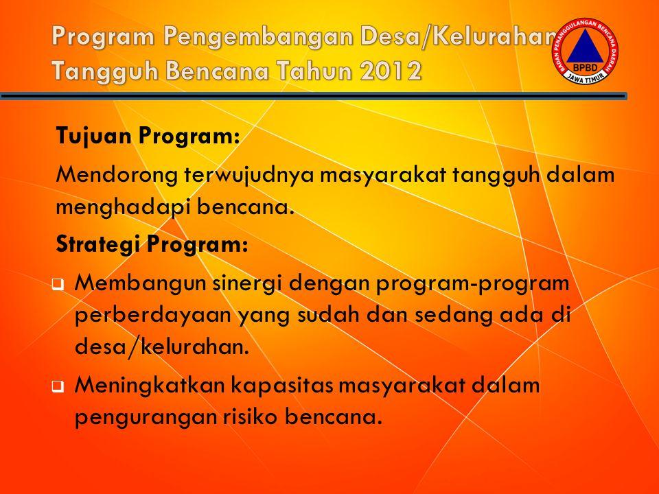 Tujuan Program: Mendorong terwujudnya masyarakat tangguh dalam menghadapi bencana. Strategi Program:  Membangun sinergi dengan program-program perber