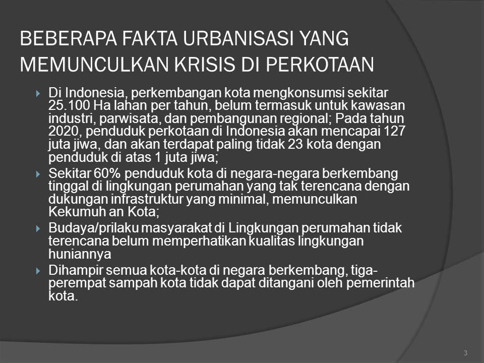 BEBERAPA FAKTA URBANISASI YANG MEMUNCULKAN KRISIS DI PERKOTAAN  Di Indonesia, perkembangan kota mengkonsumsi sekitar 25.100 Ha lahan per tahun, belum termasuk untuk kawasan industri, parwisata, dan pembangunan regional; Pada tahun 2020, penduduk perkotaan di Indonesia akan mencapai 127 juta jiwa, dan akan terdapat paling tidak 23 kota dengan penduduk di atas 1 juta jiwa;  Sekitar 60% penduduk kota di negara-negara berkembang tinggal di lingkungan perumahan yang tak terencana dengan dukungan infrastruktur yang minimal, memunculkan Kekumuh an Kota;  Budaya/prilaku masyarakat di Lingkungan perumahan tidak terencana belum memperhatikan kualitas lingkungan huniannya  Dihampir semua kota-kota di negara berkembang, tiga- perempat sampah kota tidak dapat ditangani oleh pemerintah kota.