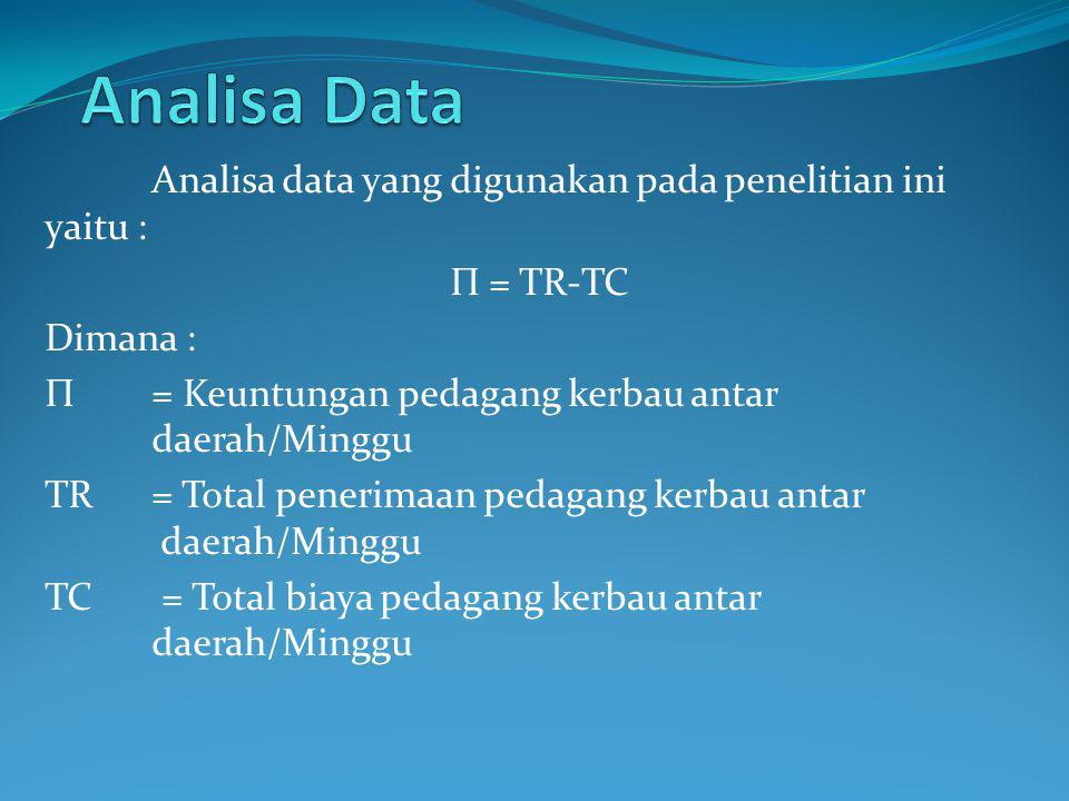 Analisa data yang digunakan pada penelitian ini yaitu : Π = TR-TC Dimana : Π = Keuntungan pedagang kerbau antar daerah/Minggu TR = Total penerimaan pe