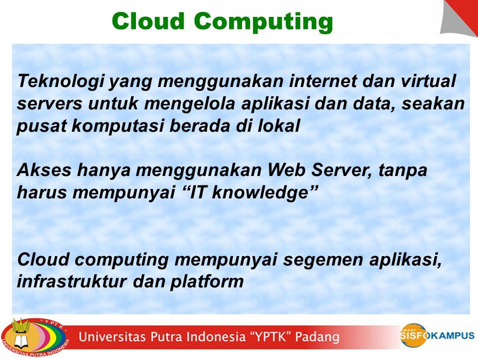 Cloud Computing Lokasi-independen komputasi Server bersama menyediakan sumber daya, perangkat lunak, dan data ke komputer dan perangkat lain sesuai permintaan, seperti dengan jaringan listrik.